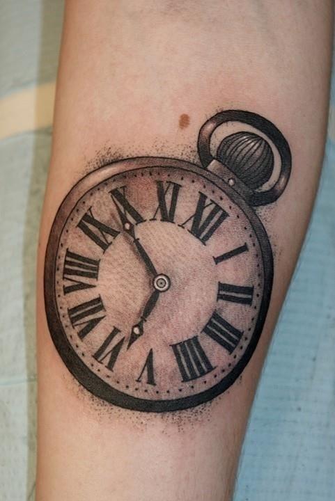 Impressive Roman Numerals Clock Tattoo
