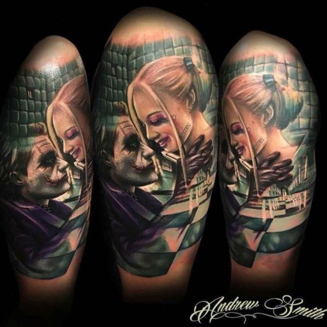 Joker and Harley Quinn Tattoo by Andrew Smith 728×728