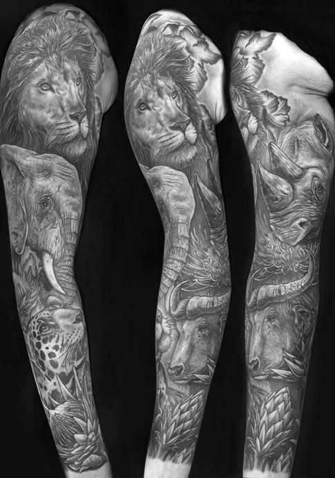 Jungle Sleeve Tattoo Black and White