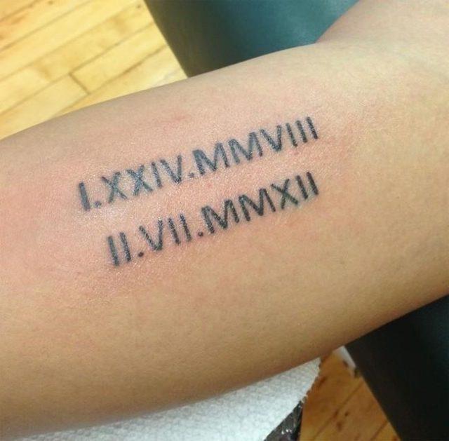 Kids Date of Birthday Tattoo Design in Roman Language