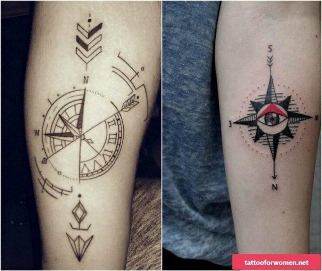Kompass Tattoo Auge Pfeil 800×674