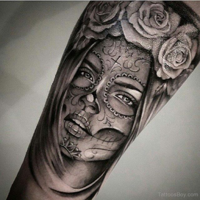 Latino Girl And Rose Tattoo On Arm Sleeve