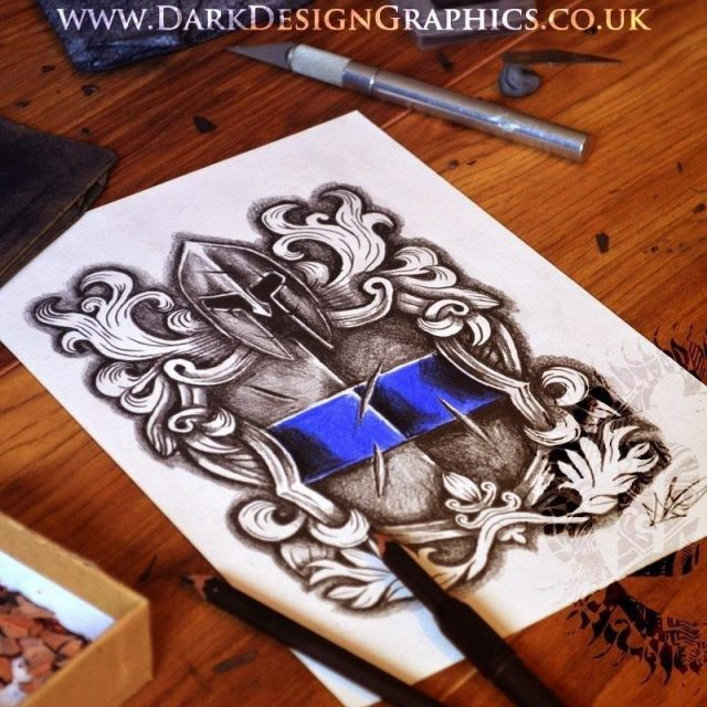 Law Enforcement Coat of Arms Tattoo Design 03 1200×1200
