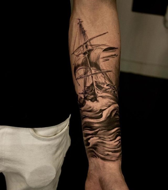 Left Forearm Ship Tattoo For Men