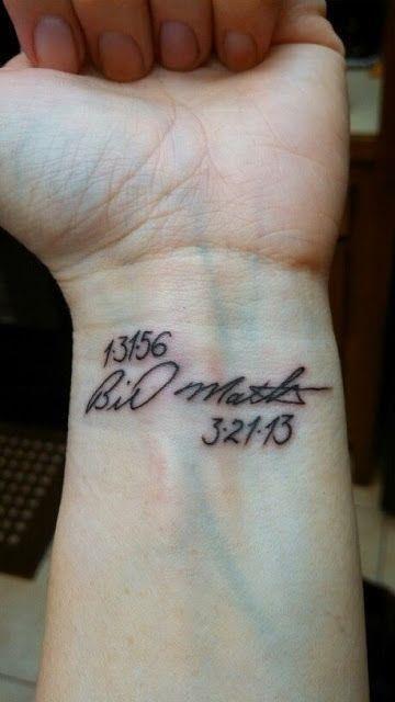 Left Wrist Memorial Tattoo Idea