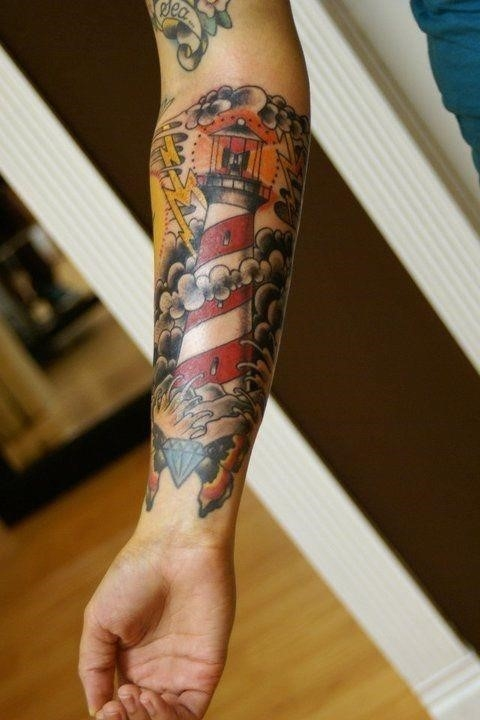 Lighthouse Tattoo On Right Forearm by Ryan Cullen