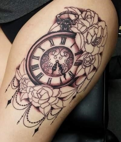 Lightly Shaded Bunch Of Flower Tattoo With Clock For Thigh