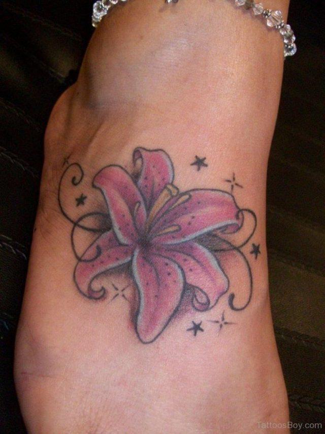 Lily Tattoo Design On Foot 1 TB12093