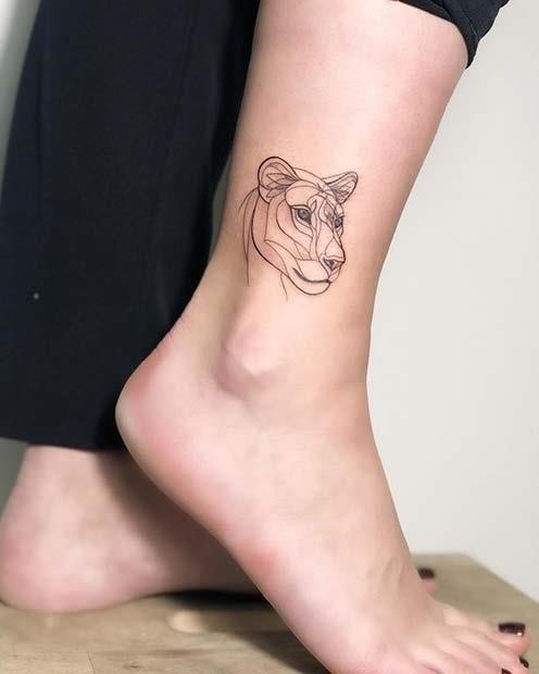 Lioness Ankle Tattoo