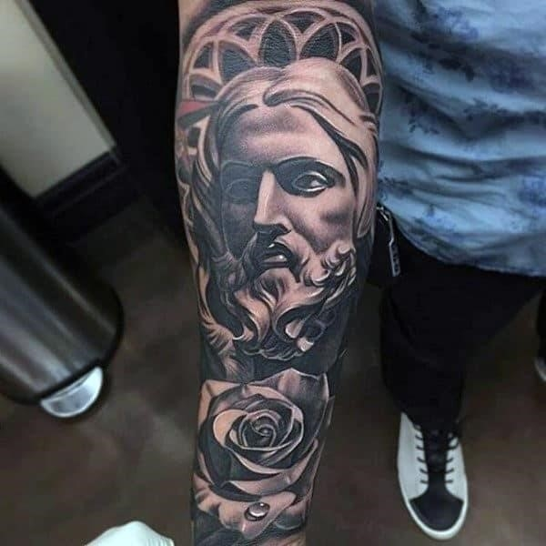 Lord and rose religious tattoo male full sleeve
