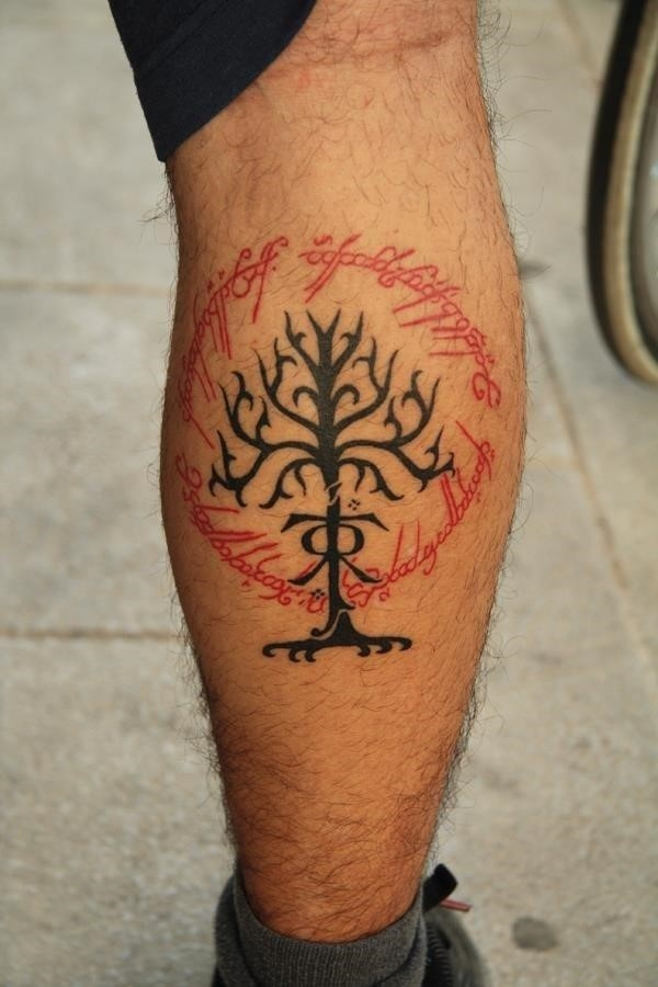 Lord of the rings theme leg tattoo