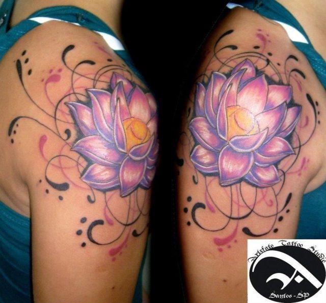 Lotus Flower Tattoo On Girl Right Shoulder