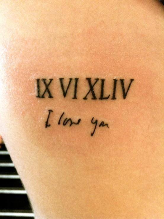 Love Roman Numbers Tattoo