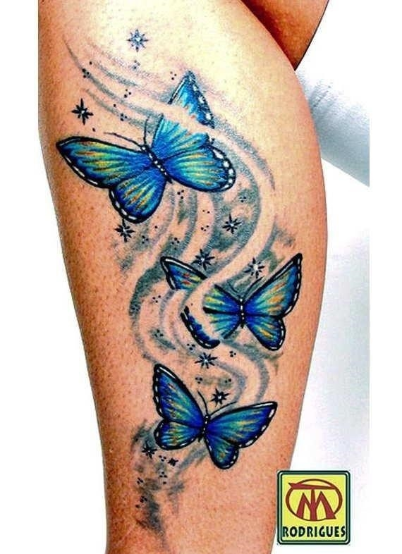 Lovely Butterflies Tattoo On Leg
