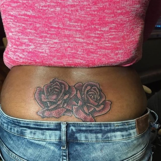 Lower Back Rose Tattoo Design