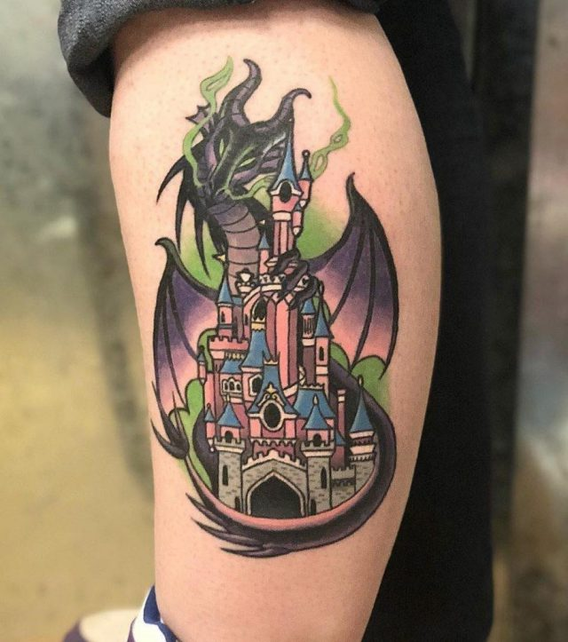 Maleficent and Disney Castle Tattoos 906×1024
