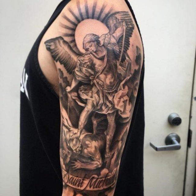 Man Upper Arm Protector Guardian Angel Tattoo