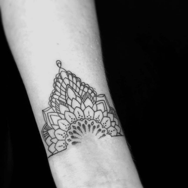 Mandala on wrist Ornamental Tattoo design The Black Hat Tattoo Dublin 2018