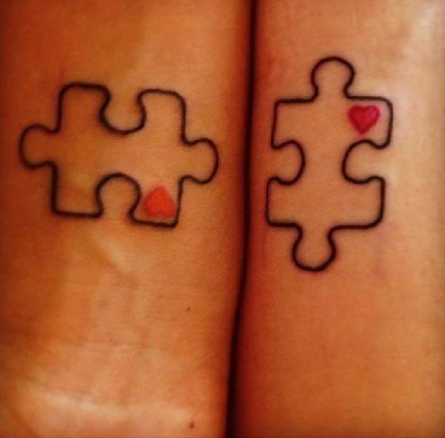 Matching Puzzle block tattoo design