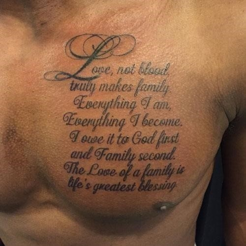 Meaningful Family Tattoo Quote on Chest