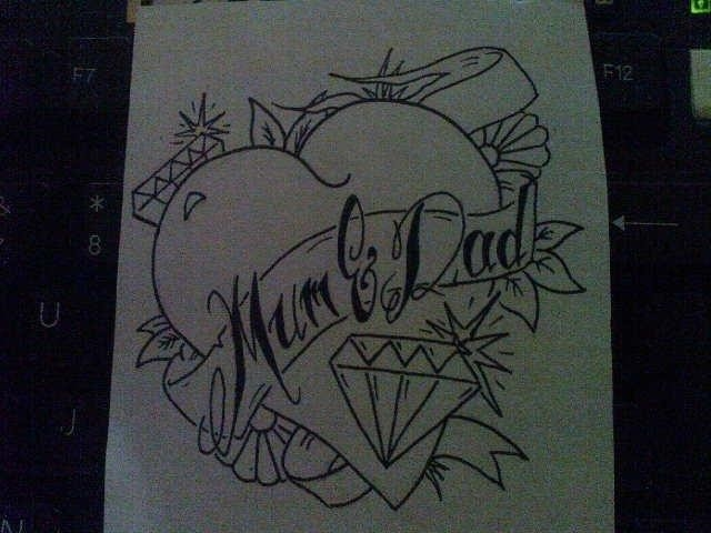 Mom Dad Rose Tattoo designs 679