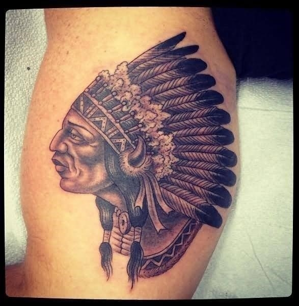 Native Indian Tattoo On Muscles