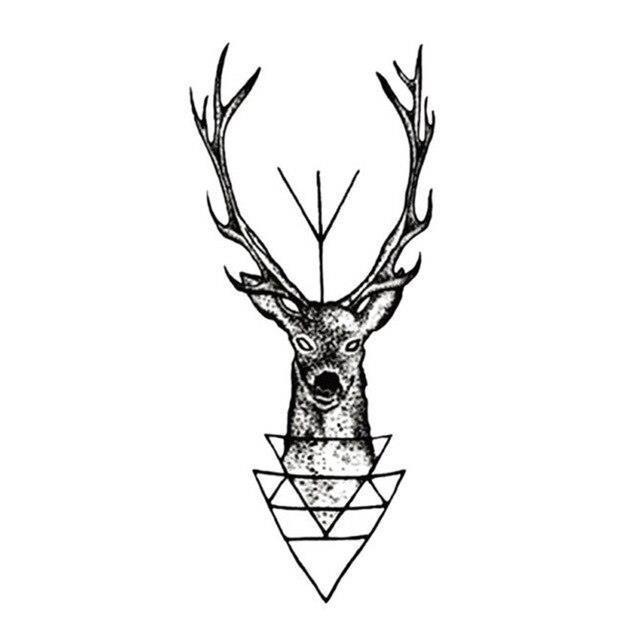 New 10 5 6cm Elk Deer Head Tattoo Bucks Horn Antlers Water Transfer Fake Tattoo Flash