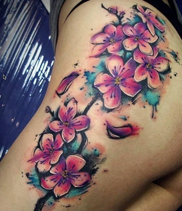 Nice Flowers Watercolor Tattoo