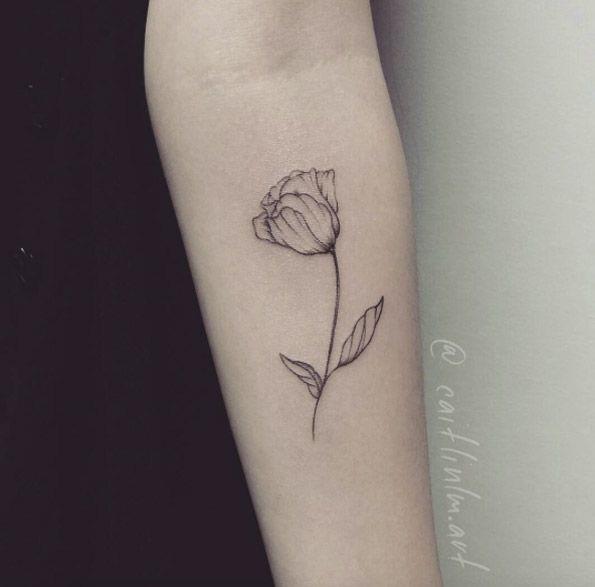 Nice Grey Dutch Tulip Tattoo