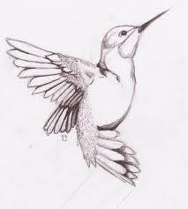 Nice Grey Hummingbird Tattoo Design