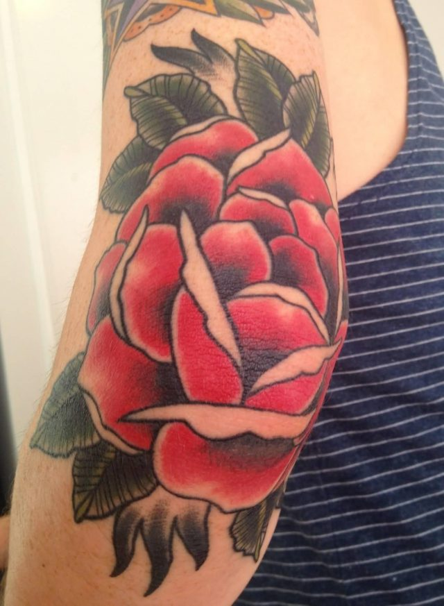 Nice Red Rose Elbow Tattoo