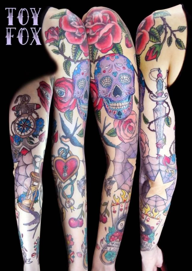 Old School Tattoo On Full Sleeve By Inomis D4h8hit