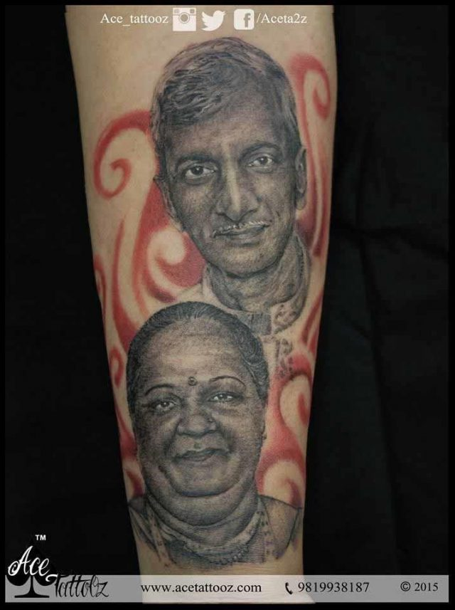 PORTRAIT TATTOO DESIGN OF MOTHER AND FATHER