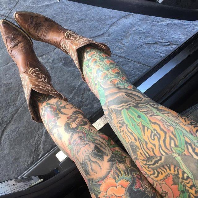 Peacock Leg Sleeve Tattoo