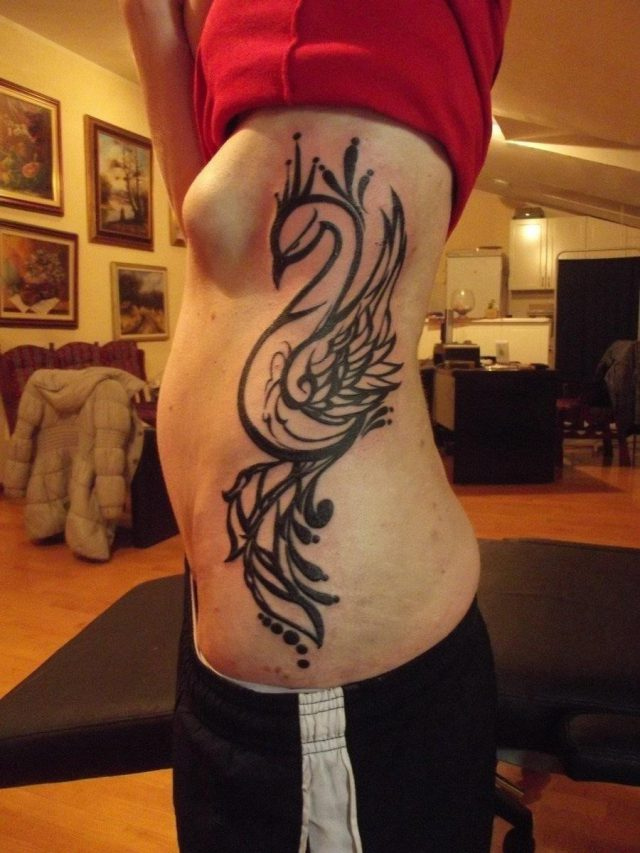 Peacock Tattoo On Rib