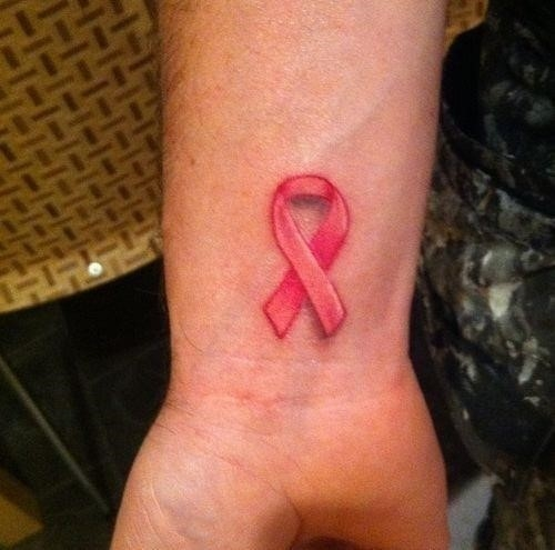 Pink Ink Breast Cancer Tattoo On Wrist