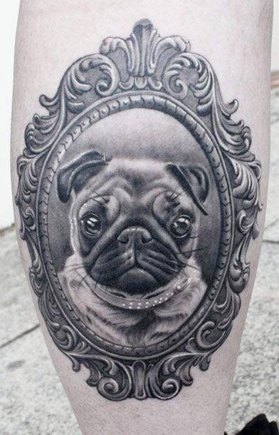 Pug dog framed portrait tattoo1