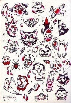 Red Abd Black Traditional Halloween Tattoo Flash