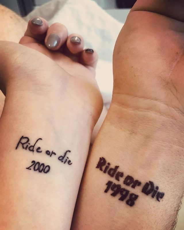 Ride or Die Printed Brother and Sister Tattoo
