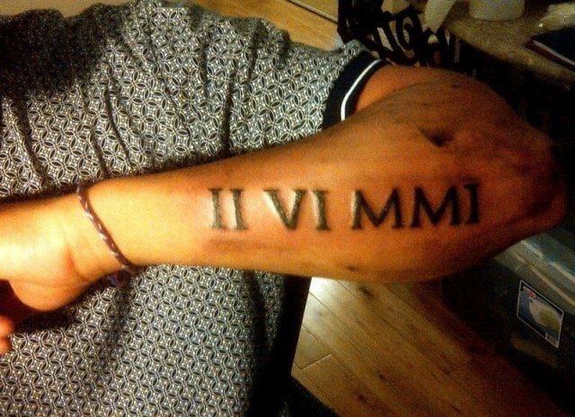 Roman Numeral Tattoos On Men Arm