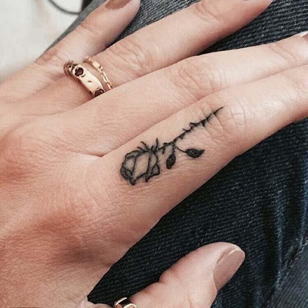 Rose Finger Tattoo Idea