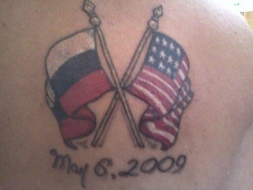 Russian And Us Flag Memorial Tattoo