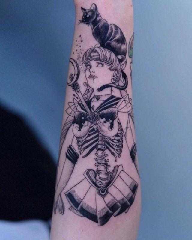 Sailor Moon Tattoo Skeleton by Oozy Tattoo 728×910