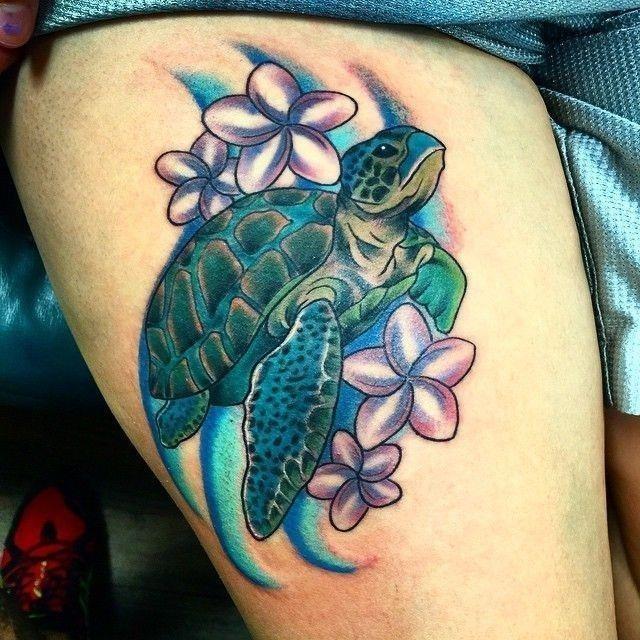 Sea Turtle Tattoo on Thigh