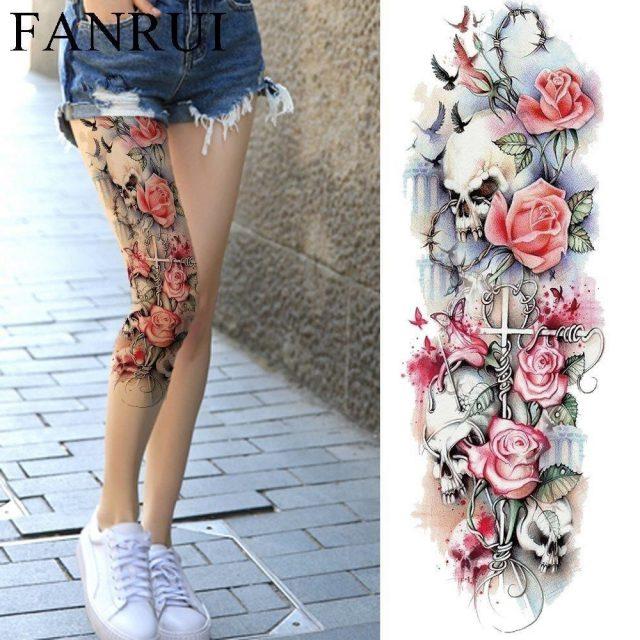 Sexy Summer Women Flower Temporary Tattoo Full Legs Body Art Tattoo Stickers Girl Shoulder Party Waterproof
