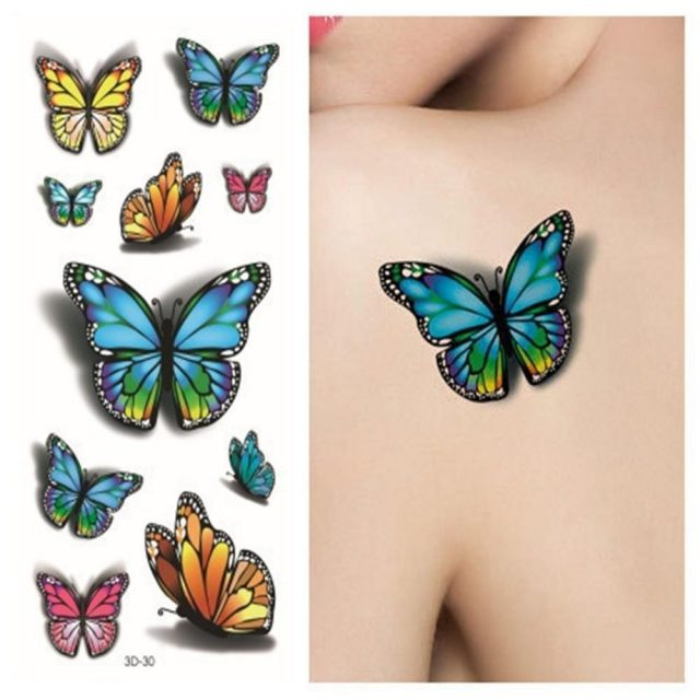 Sexy Tatoo 3d Purple Designs Pastel 3D Butterfly Tattoo Body Art Colored Drawing Waterproof Stickers 3d