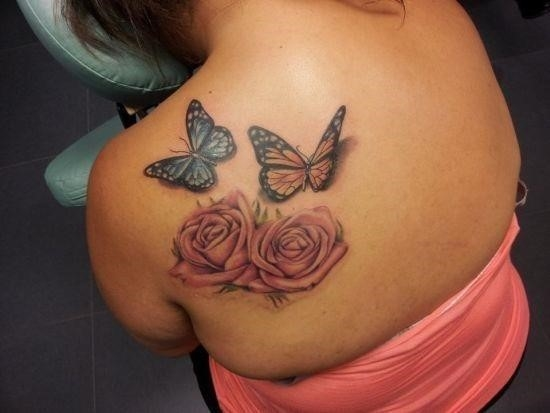 Sexy rose and butterfly tattoos