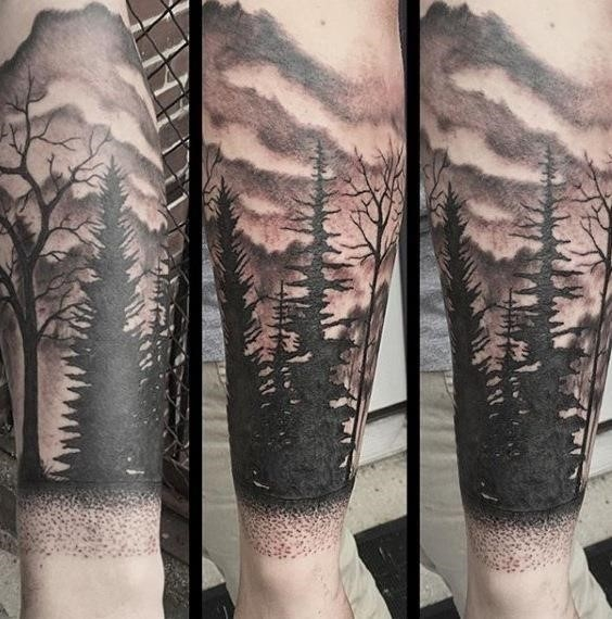 Shaded Dotted Mountain Range Forest Tattoo