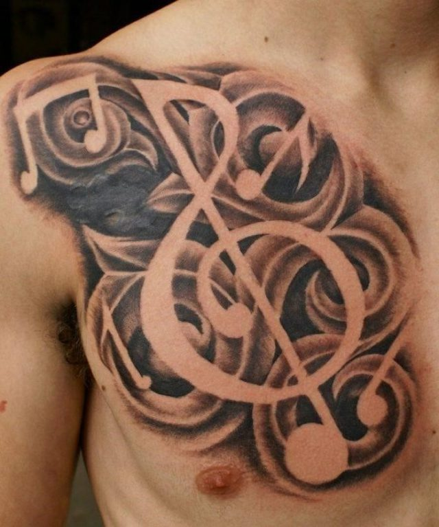 Shaded Musical Note Chest Tattoo 696×834