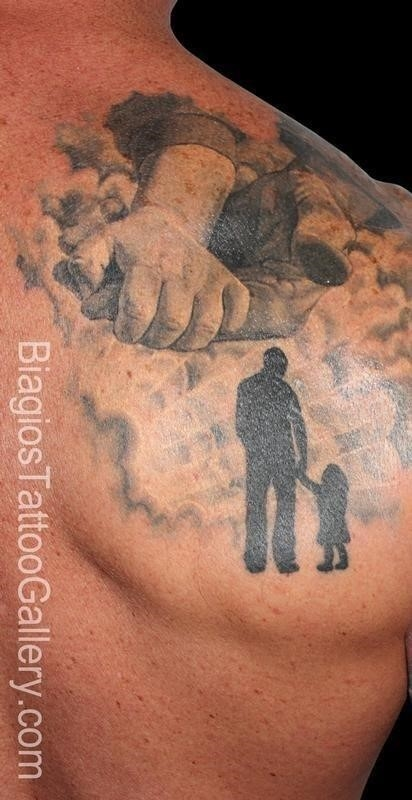 Silhouette Father With Daughter Tattoo On Man Back Shoulder